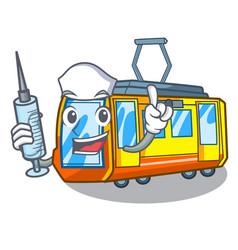 Nurse electric train isolated with cartoon vector