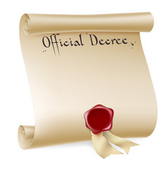 Official decree scroll with red wax seal vector