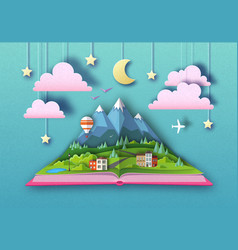 Open fairy tale book with countryside mountains vector
