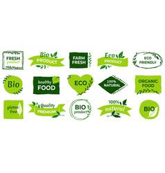 organic logo vegan product labels natural food vector image