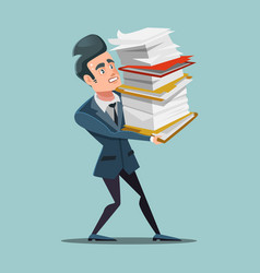 Overworked businessman with huge pile documents vector