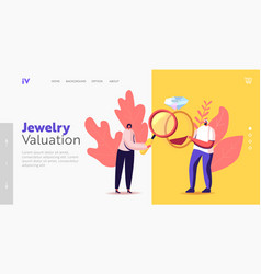 Pawn shop landing page template female owner vector