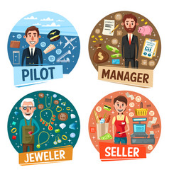 pilot and manage seller and jeweler professions vector image
