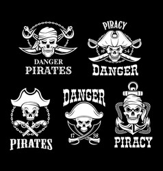 Pirates black flags set jolly roger symbol vector