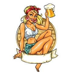 Pretty Pin Up Girl holding beer mug vector image