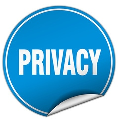Privacy round blue sticker isolated on white vector
