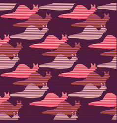 purple and pink snail race silhouette seamless vector image