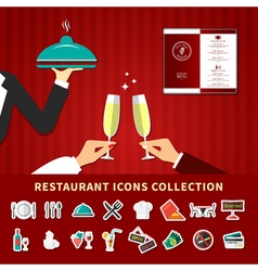 Restaurant Emoji Icon Set vector image