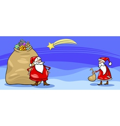 Santa Claus and sack cartoon card vector image