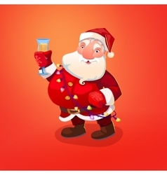 Santa Claus character with wineglass vector image