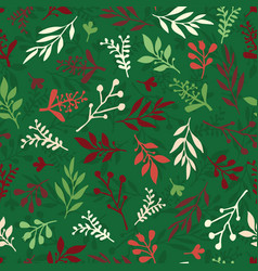 Seamless christmas background abstract leaf vector