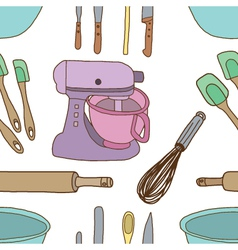 Seamless of baking items vector