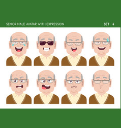 Senior man avatar with expressions vector