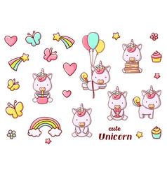 Set cute kawaii hand drawn unicorn doodles vector