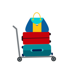 set of luggage suitcase transportation cart vector image