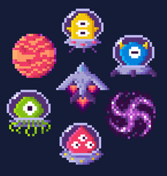 space game pixel art aliens and spaceship icons vector image