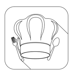Square shape with silhouette chef hat and cutlery vector