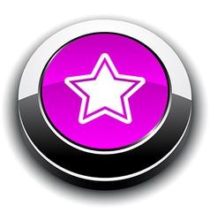 Star 3d round button vector