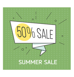 summer sale banner big discount retro comic vector image