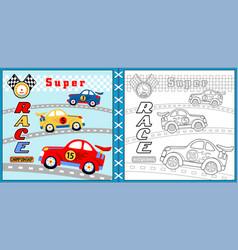 super car racing cartoon coloring page or book vector image