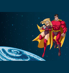 Super mom dad and baby in space vector