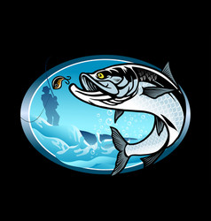 tarpon fishing shirt design vector image