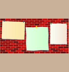 three paper notes template on the brick wall vector image
