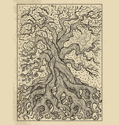 Tree mystic concept for lenormand oracle tarot vector