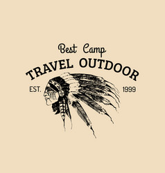 tribal camp logo tourist sign with hand vector image