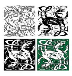 Tribal dragons with twined bodies celtic pattern vector image