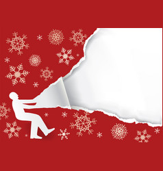 Unpacking a large christmas gift vector
