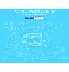 UX Website Design concept with Doodle design style vector image