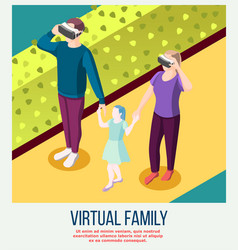 Virtual family isometric background vector