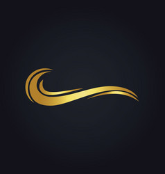 Water wave ocean gold logo vector