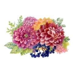 Watercolor autumn garden blooming flowers vector