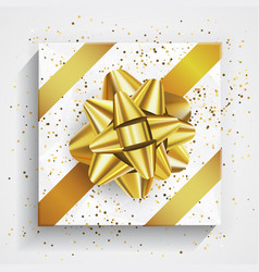 White gift box - gold christmas and birthday bow vector