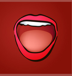 wide open laughing female mouth vector image