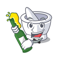With beer mortar mascot cartoon style vector