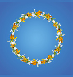 wreath of crocuses and snowdrops natural vector image