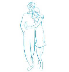 Young couple walking embracing sketch to line vector