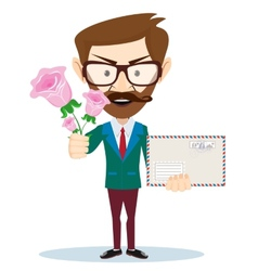 Young man with flowers and a letter vector