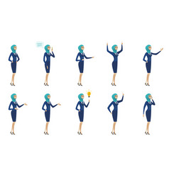 young muslim stewardess set vector image