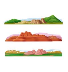 cartoon colorful mountain landscapes set vector image