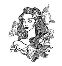 cute art card with little princess mermaid vector image