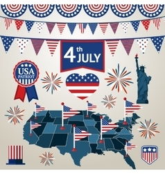 Fourth of july card with different signs and vector image vector image