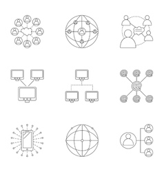 Global internet icons set outline style vector image vector image