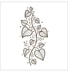 Heart leaves border vector image