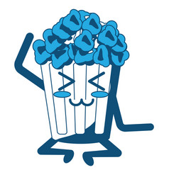 Kawaii pop corn bucket icon vector