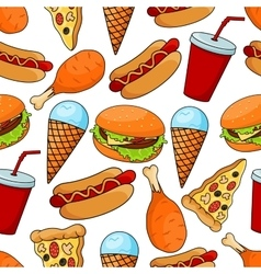 Seamless pattern of tasty fast food vector image
