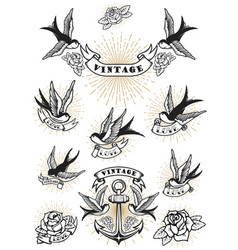 set of swallow tattoo vintage anchor and roses vector image